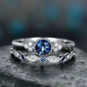 Exquisite Blue Sapphire Gems Silver  Rings